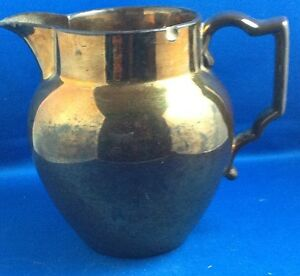 Antique Victorian Era Copper Lustre Luster Pitcher 5 5 8 Inches Tall
