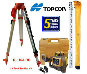 Topcon Rl h5a Rb Rotary Laser Level Plus 13 Ft Aluminum 10ths Rod