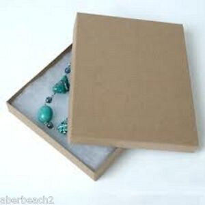 Lot Of 20 Cotton Filled Jewelry Gift Boxes 7 1 8 x 5 1 8 X 1 1 8 Kraft