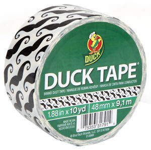 Case Of 6 Mustache Print Duck Duct Tape 10 Yd Rolls 280912 Free Shipping