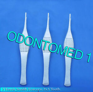 3 Ferris Smith Tissue Forceps 2x3 Teeth Surgical Neurosurgical Instrument