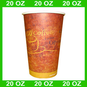 Disposable 20 oz Hot Coffee Paper Cups case Of 600