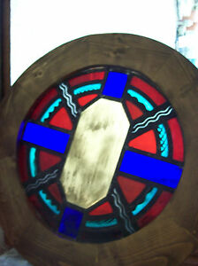 Symbols On Round Stained Glass Window Sg 1438