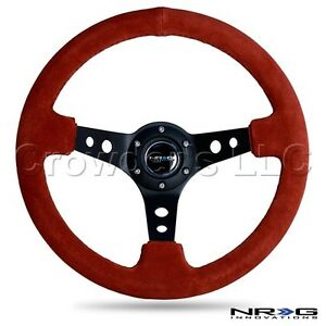 Nrg Steering Wheel 06 deep Dish 350 Mm Red Suede With Black Stitching