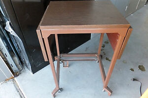Used Heavy Duty Printer typing Table Steel Frame Laminate Top Lift Foot Lever