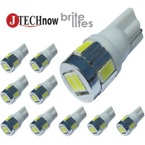Jtech 10x T10 6 Smd5630 Led 3w Super Bright White 194 168 2825 W5w Light Bulb
