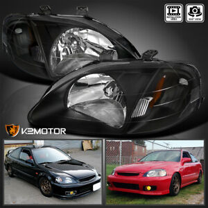 For 1999 2000 Honda Civic Ek Ej Lx Ex Si 2 4dr Headlights Lamps Black Left Right