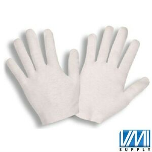 1200 Pair White Inspection Cotton Lisle Work Gloves Coin Jewelry Lightweight L