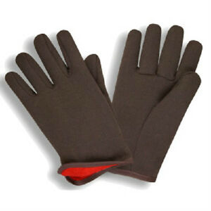 144 Pair Poly Cotton Brown Jersey Insulated Red Lined Slip on Work Gloves New L