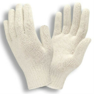 25 Dozen 300 Pair Natural White Poly Cotton String Knit Work Gloves New Large L