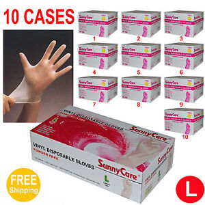 Sunnycare 10000 Vinyl Disposable Gloves Powder Free nitrile Latex Free Large