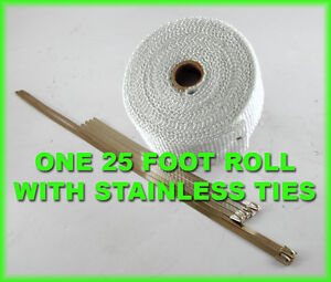 Exhaust Heat Header Pipe Wrap Roll Stainless Ties 1 16 x 2 X 25 Ft White