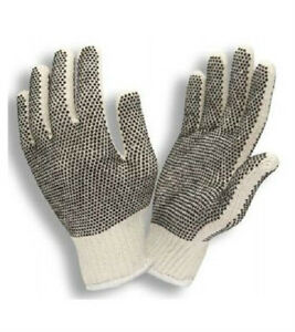 25 Dozen 300 Pair Premium String Knit Pvc Dot Both Sides Work Gloves Large L