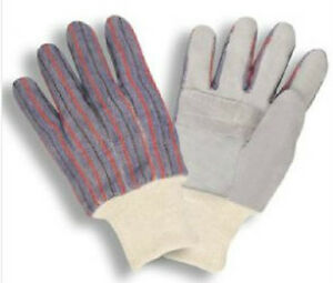 144 Pair Leather Palm Knit Wrist Work Gloves Stripped Canvas Mens Size Large L