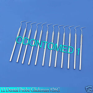 12 Dental Probe Glickman 26g Dentist Lab Instruments