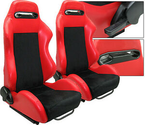 New 1 Pair Red Pvc Leather Black Suede Adjustable Racing Seats All Honda
