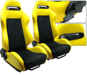 New 1 Pair Yellow Pvc Leather Black Suede Adjustable Racing Seats All Honda