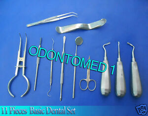 11 Pieces Basic Dental Scissors Elevators Set Instruments Dn 511