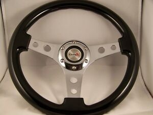 13 Black Steering Wheel Chrome 3 Spoke Center With Holes Momo 2 3 4 Bolt Pat