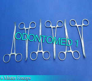 6 Mixter Hemostatic Forceps 7 Curved Surgical Instruments