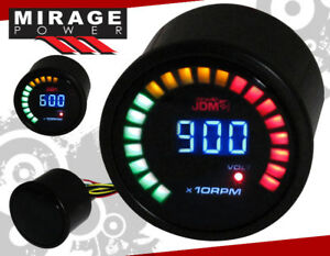 2 52mm Digital Blue Led Jdm Tachometer Rpm Meter Racing Monitoring Gauge Scion
