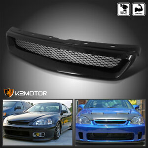 For 1999 2000 Honda Civic Honeycomb Mesh Style Front Bumper Hood Grille Black