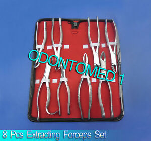 8 Pcs Kit Of Extracting Forceps Dental Surgical Instruments