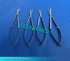 4 Castroviejo Micro Surgery Scissors Straight curved angled Surgical Instruments