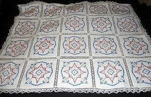 Vintage Hand Embroidered Linen Tablecloth Blue Red Gold Stars 43 X 55 Excellent