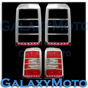Taillight Tail Light Lamp Bezel Red Led Light Bar Cover For 07 15 Jeep Patriot
