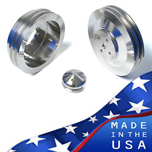 Billet Aluminum Pontiac Pulley Kit 2v V Belt Pulleys Gto Power Steering