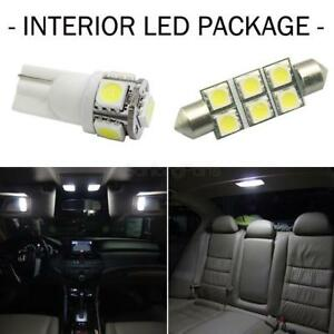 6x White Led Lamps Bulb Combo Map dome licence Plate Interior Lights Package