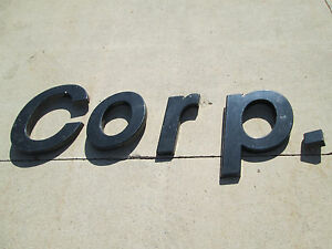 Plastic Molded Building Sign Letters Word corp Black Used 5 Ft Long 20in High