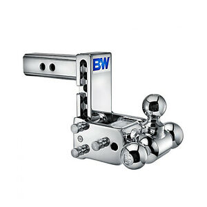 B w Hitches Ts10048c Chrome Tow Stow 5 5 5 Adjustable Tri Ball Mount Hitch