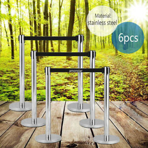 6pcs Retractable Belt Stanchion 3 Sets Black Belt Crowd Control Barrier