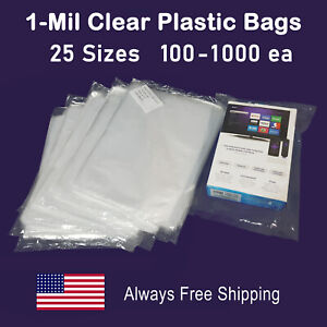 1 mil Packing Clear Lay flat Poly Bags Open Top Plastic Transparent Baggies
