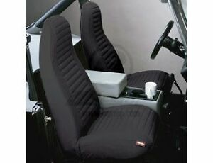 Bestop 29224 15 Front Seat Covers Blk Denim For High Back Buckets For Wrangler