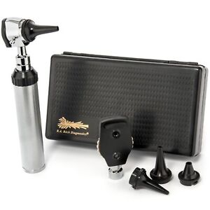 New Professional Physician Ophthalmoscope Otoscope Diagnostic Set With Hard Case