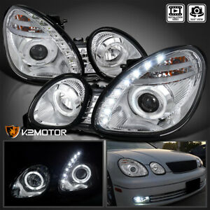 For 1998 2005 Lexus Gs300 gs400 Led Halo Projector Headlights Left right 98 05