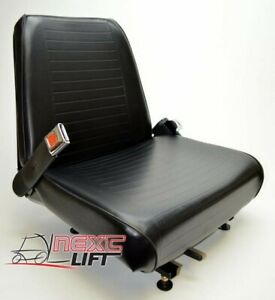 New Universal Vinyl Forklift Seat With Belt Fits Clark Cat Hyster Yale Toyota