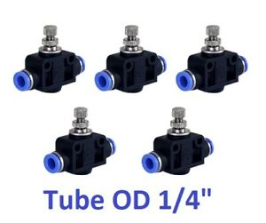 Air Flow Speed Control Valve Tube Od 1 4 Inch Pneumatic Push In Fitting 5 Piece