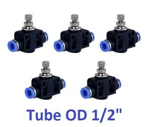 Air Flow Speed Control Valve Tube Od 1 2 Inch Pneumatic Push In Fitting 5pcs