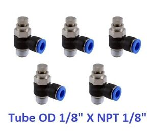 5pcs Air Flow Control Valve Tube Od 1 8 X Npt 1 8 Pneumatic Push In Fitting