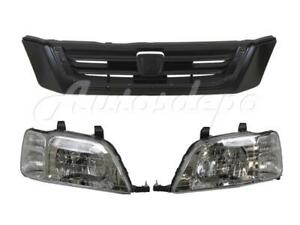 For 1997 2001 Honda Cr V Crv Code G82p Grille Material Black Headlight 3pcs