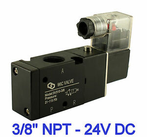Pneumatic 3 Way Electric Directional Control Air Solenoid Valve 24v Dc 3 8 Inch