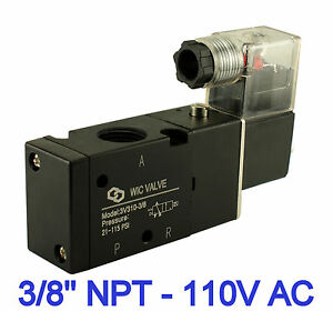 Pneumatic 3 Way Electric Directional Control Air Solenoid Valve 110v Ac 3 8 Inch
