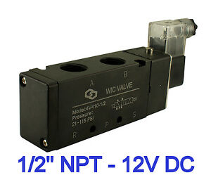 Pneumatic 4 Way Air Directional Control Electric Solenoid Valve 12v Dc 1 2 Inch