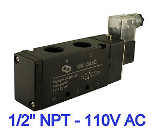 4 Way Air Flow Directional Control Electric Solenoid Valve 110v Ac 1 2 Inch