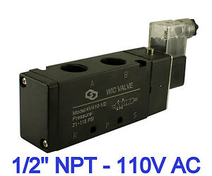 4 Way Pneumatic Directional Control Electric Solenoid Valve 110v Ac 1 2 Inch