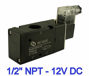 Pneumatic 3 Way Electric Directional Control Air Solenoid Valve 12v Dc 1 2 Inch
